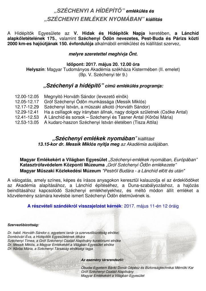 MEGHÍVÓ Széchenyi emlékülés és kiállítás 2017 05 20